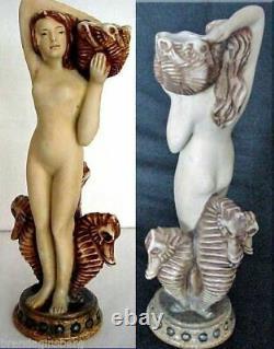 Antique RSTK Amphora Figurine Woman Seahorses Pelicans Jewels Austrian (2138)