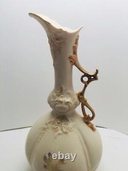 Antique Robert Hanke Rh Austria Art Nouveau Floral Ewer Porcelain Vase Gold