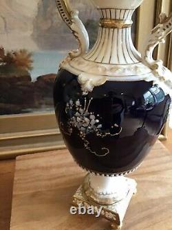Antique TURN TEPLITZ Bohemia RSTK AUSTRIA Porcelain URN VASE Moriage Cobalt BLUE
