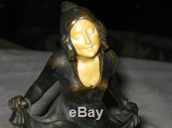 Antique Tereszczuk Austrian Bronze Dancing Lady Art Statue Sculpture Tray Holder
