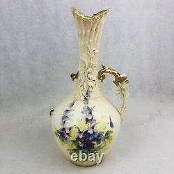 Antique Turn Teplitz Bohemia RstK Austria Handled Floral Hand Painted 13 Vase