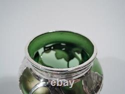 Antique Vase Art Nouveau Austrian Iridescent Green Glass & Silver Overlay