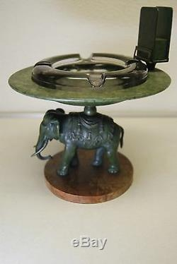 Antique Victorian B&h Elephant Tobacco Cigar Austrian Bronze Art Nouveau Ashtray