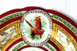 Antique Vienna Imperial Crown porcelain ornithological cabinet plate 1880-1900