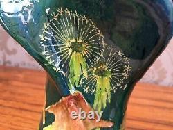 Antique pair Austrian Secessionist Art Nouveau flower amphora thistle vases