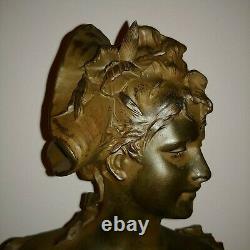 Antique tall Austrian Art Nouveau polychrome sculpture bust girl hat Nelson 1900