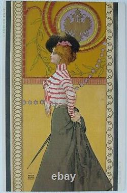 Arpad Basch. European Girls. Art Nouveau Serie 653 Nr. 6 L'Autrichienne. Austrian