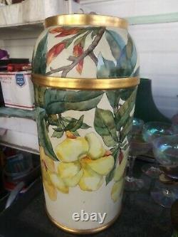 Art Nouveau 13 3/8 inch Austrian hibiscus Vase C1900