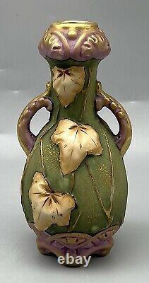 Art Nouveau Amphora Leaf Vase