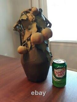 Art Nouveau Amphora Teplitz Fruit Laden Austria Pottery Vase 14 Tall