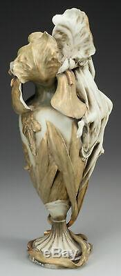 Art Nouveau Amphora Vase Bohemian Style Gold Gilt Painted Figural Flowers Lady