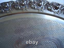 Art Nouveau Argentor Austrian Silver Plated Serving Oval Tray Flower Decor 1900