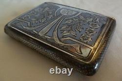 Art Nouveau Austrian 900 Silver Niello Cigarette Case By Fb - Initials Bk
