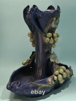 Art Nouveau Austrian Amphora Grapevine Vase/Centerpiece Circa 1900