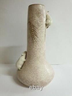 Art Nouveau Austrian Ernst Wahliss Vase Mice & Wheat