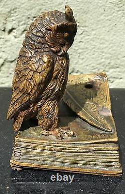 Art Nouveau Austrian bronze Owl On book Sculpture