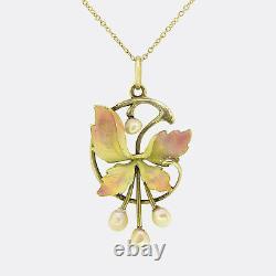 Art Nouveau Enamel and Pearl Pendant Necklace 14ct Yellow Gold Austrian