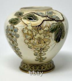 Art Nouveau Gold Flower Wisteria Vase Ernst Wahliss Turn Vienna EXQUISITE RARE