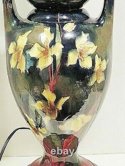 Art Nouveau Hand Painted Austrian Art Pottery Vase Converted Table Lamp