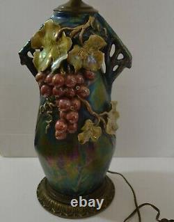 Art Nouveau Heliosine Ware Rsth Zsolnay Amphora Iridescent Lamp