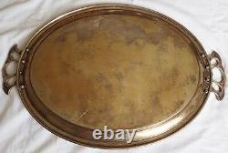 Art Nouveau Huge Argentor Austrian Silver Plated Oval Tray Two Impressive Handle