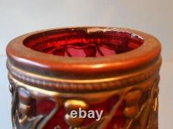 Art Nouveau Loetz Austrian Art Glass Vase with Brass Mount
