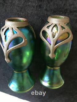Art Nouveau Loetz Kralik Carl Stolzle pair of Iridescent Metal Glass Vases