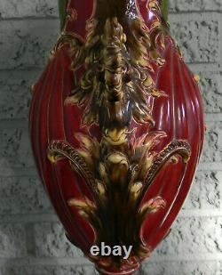 Art Nouveau Majolica Huge Vase Faience by Julius Dressler Bohemia Austria 1900