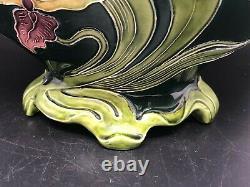 Art Nouveau Majolica Jardiniere Faience by Julius Dressler Bohemia Austria Vase