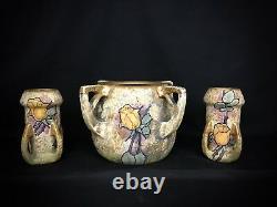 Art Nouveau RSTK Amphora Austria Reissner Kessel Turn Teplitz 3 Piece Set
