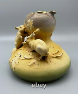 Art Nouveau Stellmacher Teplitz 7 Rabbits Amphora Vase