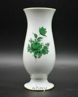 Augarten Wien Vienna Austria Maria Theresia Green Flowers & Gold 9 Vase