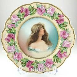 Austria Moritz Zdekauer MZ Constance Woman Portrait Plate Pink Rose R486