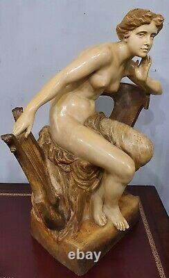 Austrian 62cm Goldscheider Nude Terracotta Muse with Lyre c. 1900