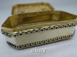 Austrian 800 Silver Jeweled Rare Box Chrysopraise Saphire Amethyst Enamel Rare