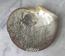 Austrian ART NOUVEAU pheasant drawing on abalone shell around 1900