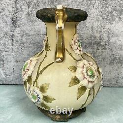 Austrian Amphora Art Nouveau Floral Double Handle Vase Pottery Antique