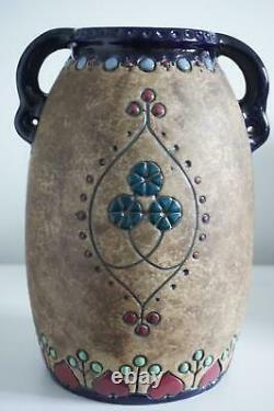 Austrian Amphora Art Pottery Large Vase Stylised Exotic Birds c. 1900