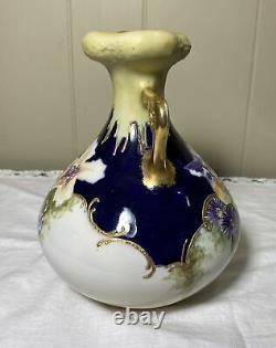 Austrian Amphora Double Handled Flower Vase Hand Painted Art Nouveau Gold Blue