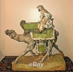 Austrian Amphora Imperial Turn-Teplitz Large Hand Painted Camel Rider Sculpture