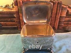 Austrian Antique 800 Silver Sugar Box with dog finial circa 1880s