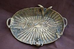 Austrian Art Nouveau Bronze Vienna Stamp Pin Tray Visit Card Holder Dish Birds