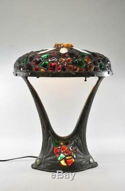 Austrian Art Nouveau Chunk Glass Table Lamp