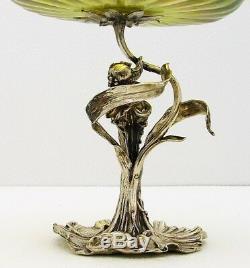 Austrian Art Nouveau Solid Silver Compote Centerpiece w Glass Bowl with Figural