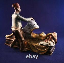 Austrian Cold Painted Bronze Naked Girl in Bed with Moroccan man F Bergmann