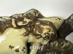 Austrian Franz Bergman Cold Painted Bronze Erotic Nude Lady Reclining Tiger Rug
