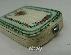 Austrian G. A. S. Solid Silver Guilloche Enamel Snuff Box George Adam Scheid Rare