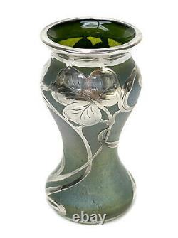Austrian Green Iridescent Art Glass Sterling Silver Overlay Vase, Art Nouveau