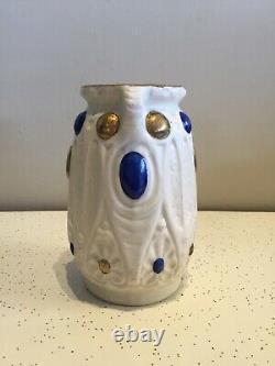 Austrian Jeweled Art Nouveau Amphora Antique Vase Art Pottery Bohemia