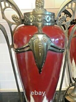 Austrian Jugendstil Art Nouveau Ox Blood Urns With Fancy Mounts